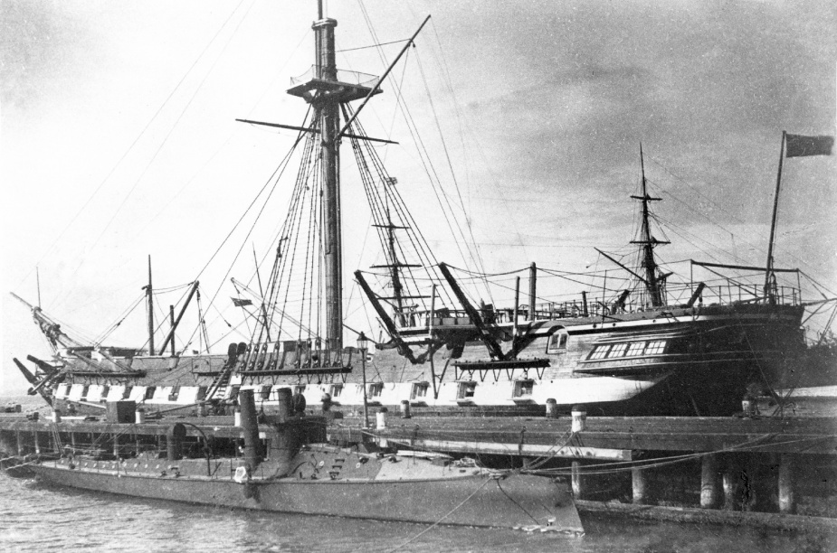 Childers alongside at Williamstown. Note HMVS Nelson in the background.