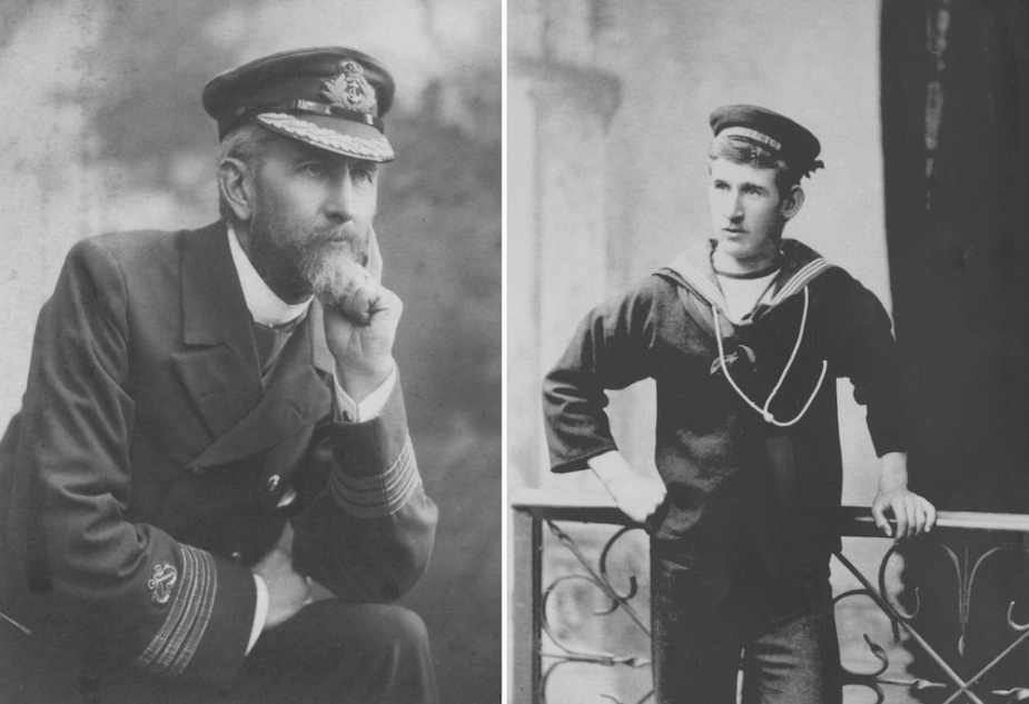 Captain CJ Clare, KCMG who resumed command of Protector during her return voyage to Australia. Right: Studio portraits proved popular amongst Protector's crew.