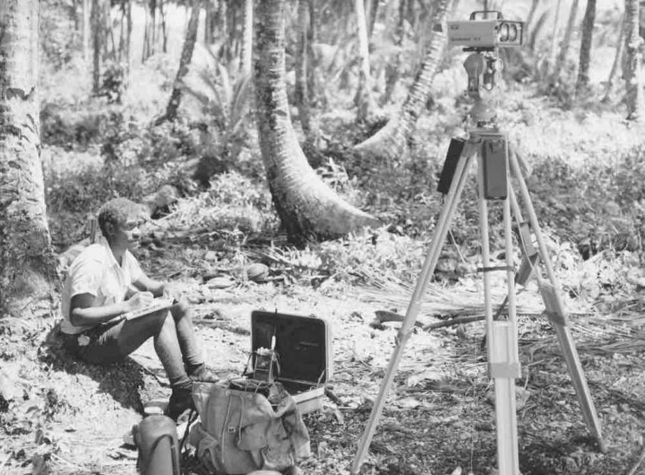 Clifford Olisukulu (SIHU) observing at Marau Sound 1982.