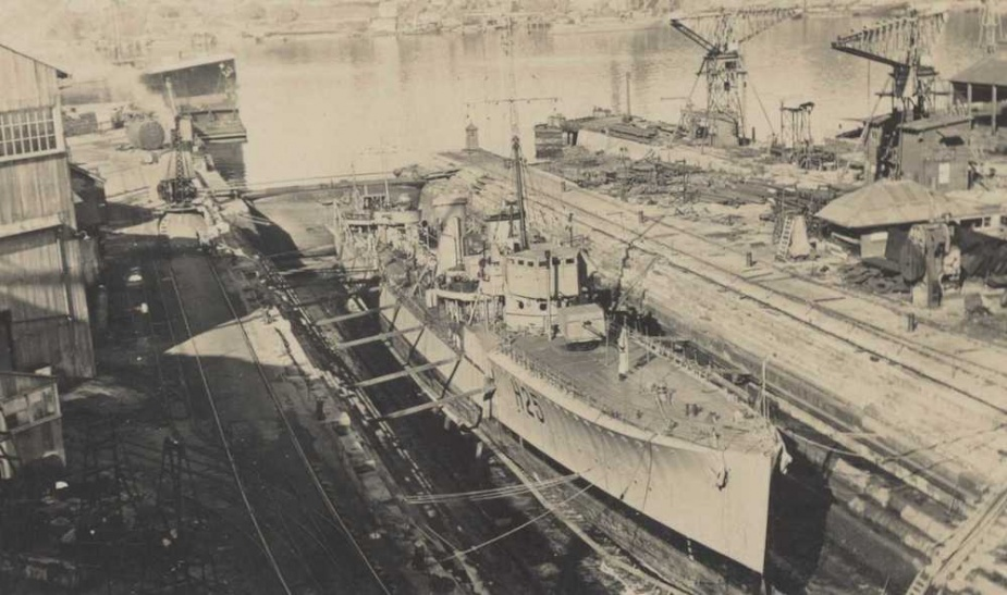 HMAS Tasmania in dry dock at Cockatoo Island 1924