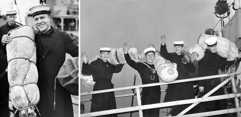 Left: National Service trainee Don Kennett from Adelaide with full gear as he goes aboard Colac for three weeks. (Argus Newspaper Collection of Photographs, State Library of Victoria) Right: National Service Trainees bringing their gear aboard Colac for three weeks at sea. (Argus Newspaper Collection of Photographs, State Library of Victoria)