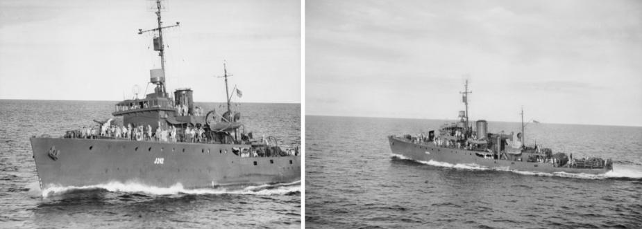 HMAS Colac at sea, circa 1944. (AWM 075751, R: AWM 075753)