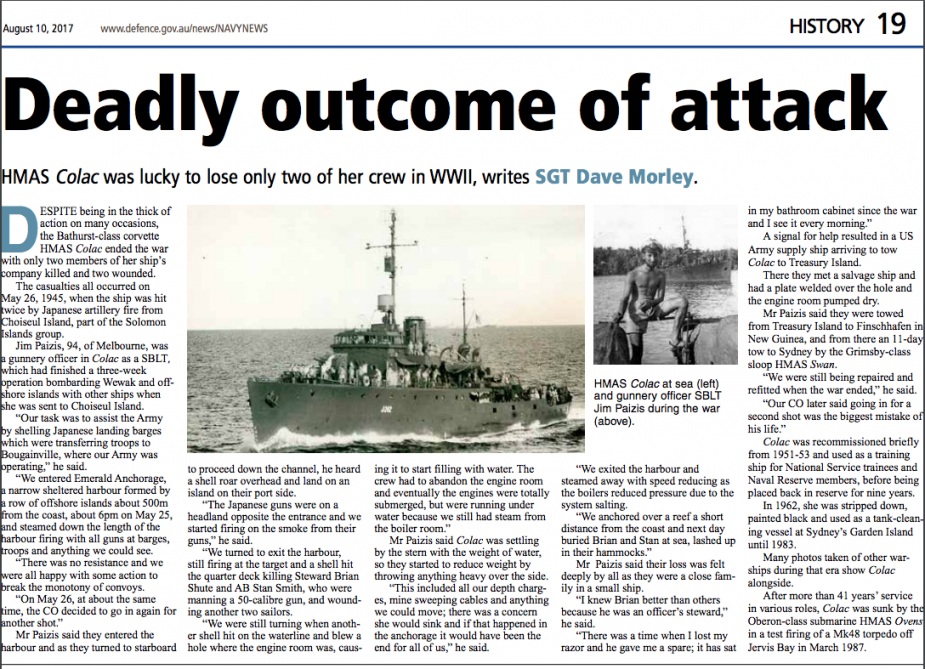 Article about the history of HMAS Colac from Navy News, Issue August 10, 2017.