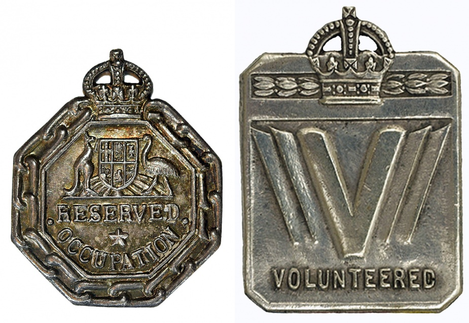Left: Exemption Badge - Reserved Occupation. Right: Exemption Badge - Medically Unfit.