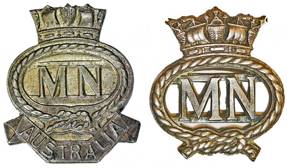 Left: Merchant Navy - Australia Badge. Right: Merchant Navy Badge.