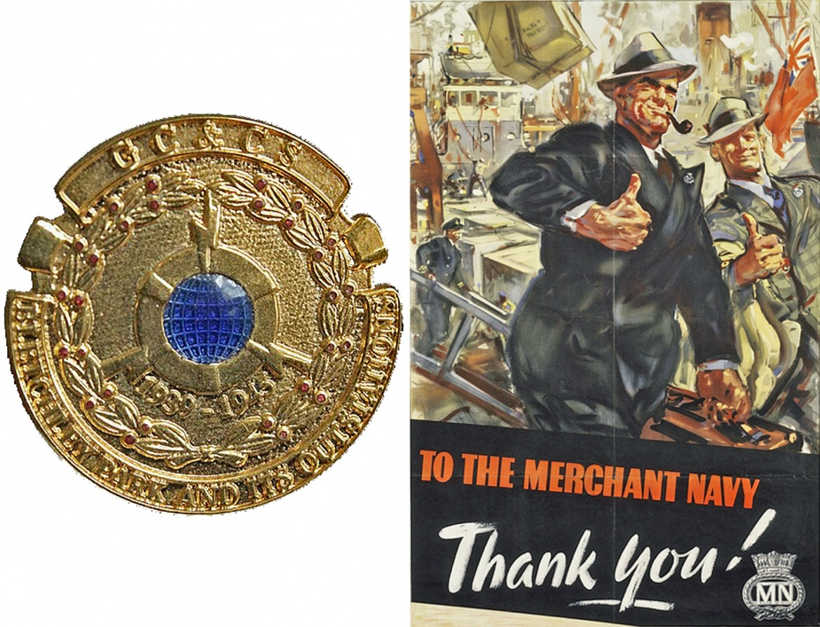Left: Bletchley Park Commemorative Badge. Right: Second World War British poster highlighting the Merchant Navy.