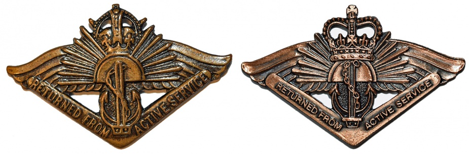 Right: Returned from Active Service Badge - King's Crown. right: Returned from Active Service Badge - Queen's Crown.