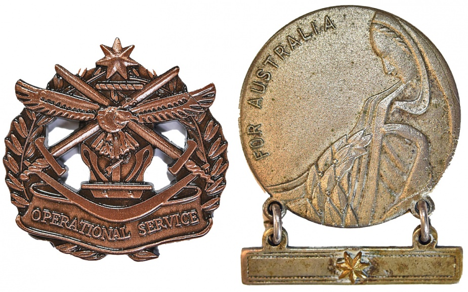 Left: Operational Service Badge - Military. Right: Mother's and Widow's Badge.