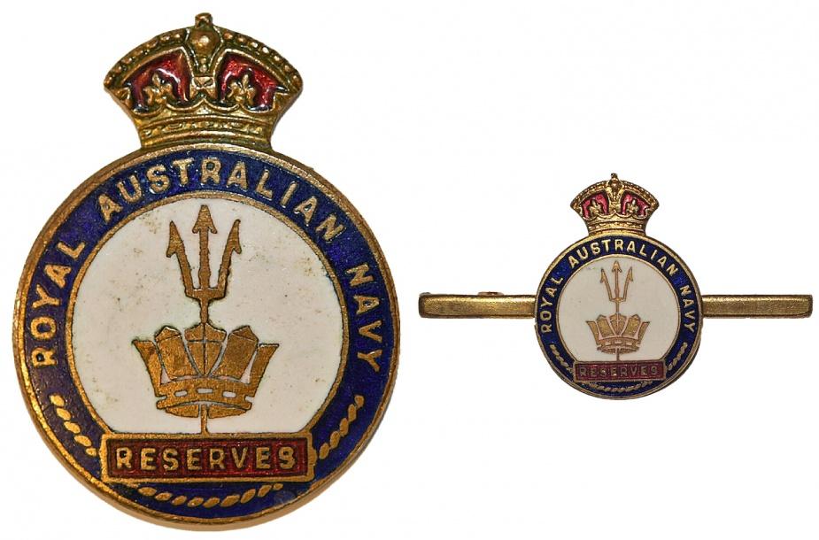 Left: Royal Australian Navy Reserve Badge. Right: Royal Australian Navy Reserve Brooch.