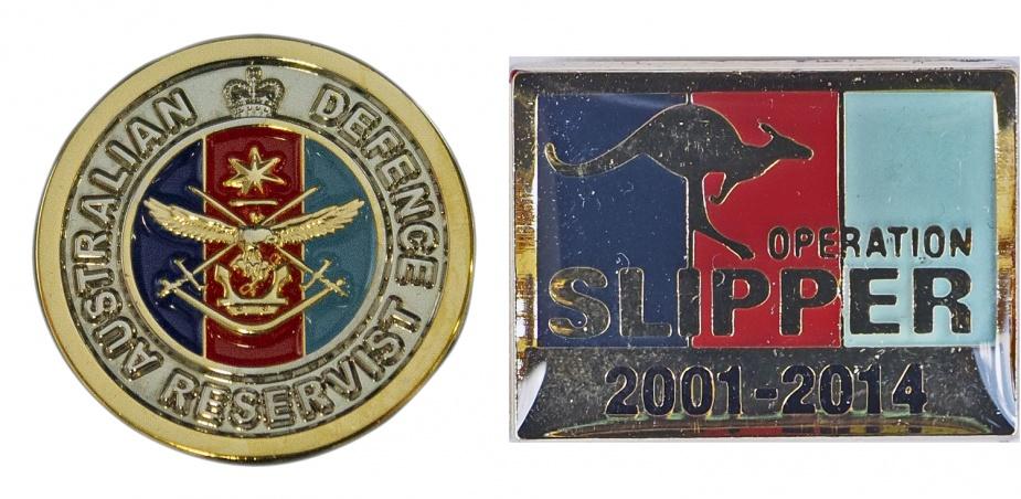 Left: Australian Defence Force Reservist Pin. Right: Operation SLIPPER Commemorative Pin.