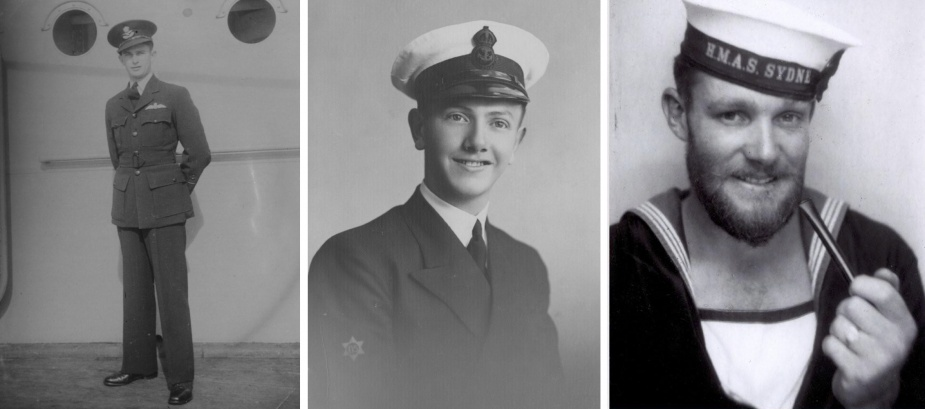 Left: Sydney's aircraft pilot Flying Officer Raymond Barrey. Centre: Assistant Steward Lionel Rothbaum. Right: Able Seaman Richard Perryman