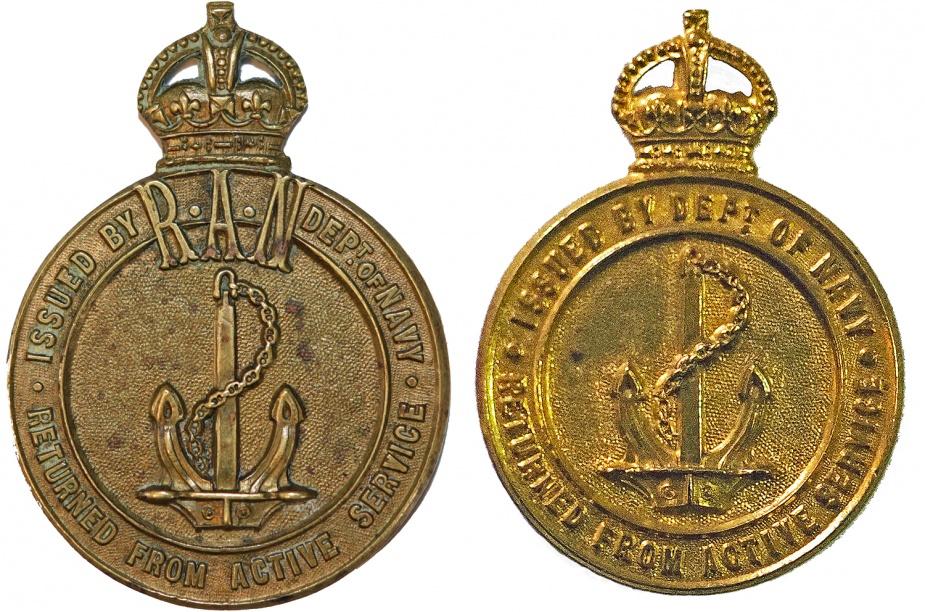 Left: RAN Returned Sailors' Badge. Right: Returned Sailors' Badge - Royal Navy.