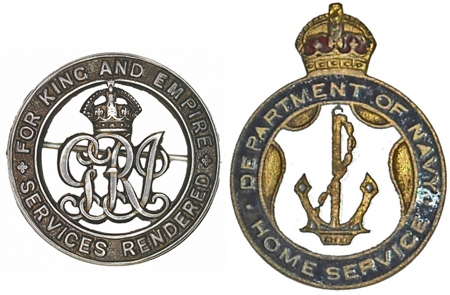 Left: Silver War Badge. Right: Home Service Badge.