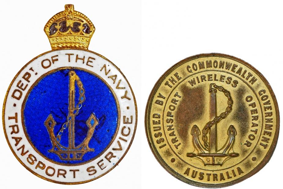 Left: Transport Service Badge. Right: Transport Wireless Operator's Badge.