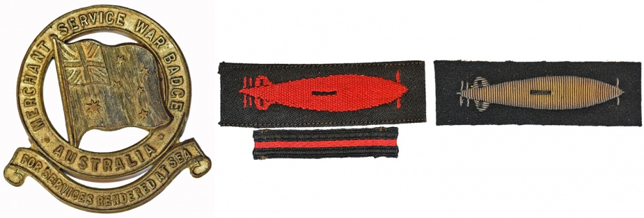 Left: Mercantile Marine War Zone Badge. Middle: Mercantile Marine Torpedo Badge with one bar. Right: Gold wire Mercantile Marine Torpedo Badge.