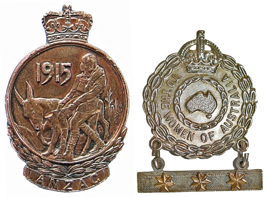 Left: ANZAC Commemorative Medallion and Lapel Badge. Right: Female Relative's Badge.