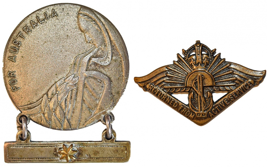 Left: Mother's and Widow's Badge. Right: Returned from Active Service Badge.