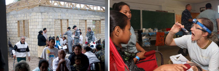 Left: Crew of HMAS BETANO support a expeditionary medical program in regional Tonga during PACIFIC PARTNERSHIP 2009. Right: Royal Australian Air Force Dentist, Flight Lieutenant Eugeniya Kelloway, demonstrates how to brush teeth at Nanpei High School, Micronesia, during Pacific Partnership 2011. HMA Ships Betano and Balikpapan provided vital ship to shore support during the deployment.