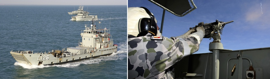 Left: HMA Ships Balikpapan, Benalla and Pirie enter Darwin Harbour in formation on completion of Exercise TRITON THUNDER 2012. Right: Able Seaman Clayton Marshall fires the 12.7mm Browning Machine Gun onboard HMAS Balikpapan during Exercise TRITON THUNDER 2012.