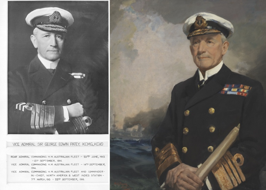 Admiral Sir George Edwin Patey served as Commander of His Majesties Australian Fleet from 1913 to 1916.