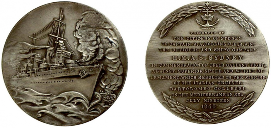 The obverse and reverse of the commemorative plaques and medallions presented to HMAS Sydney and her ship's company