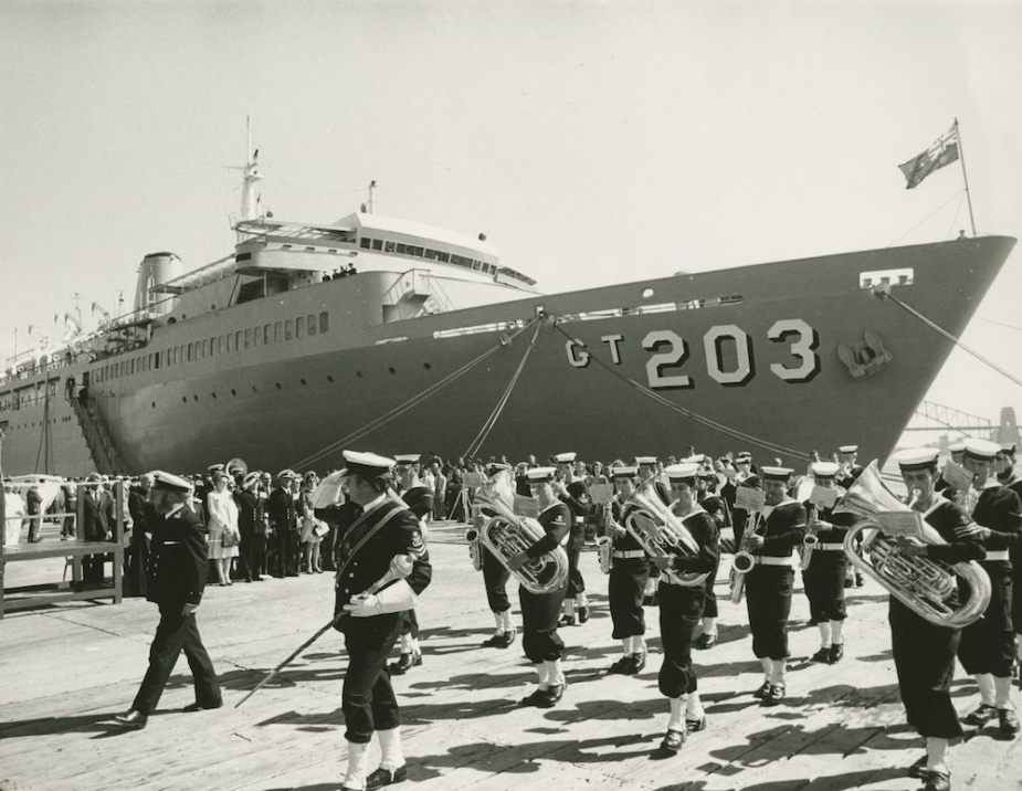 HMAS Jervis Bay alongside during her commissioning ceremony