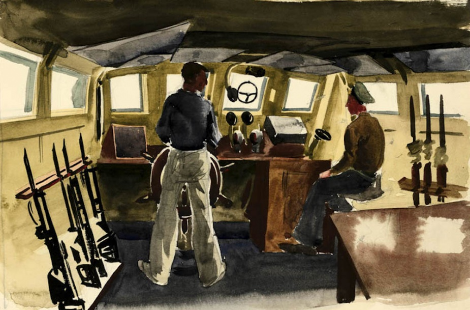 A watercolour of the wheel house of a Fairmile by Rex Julius (1914-1944).