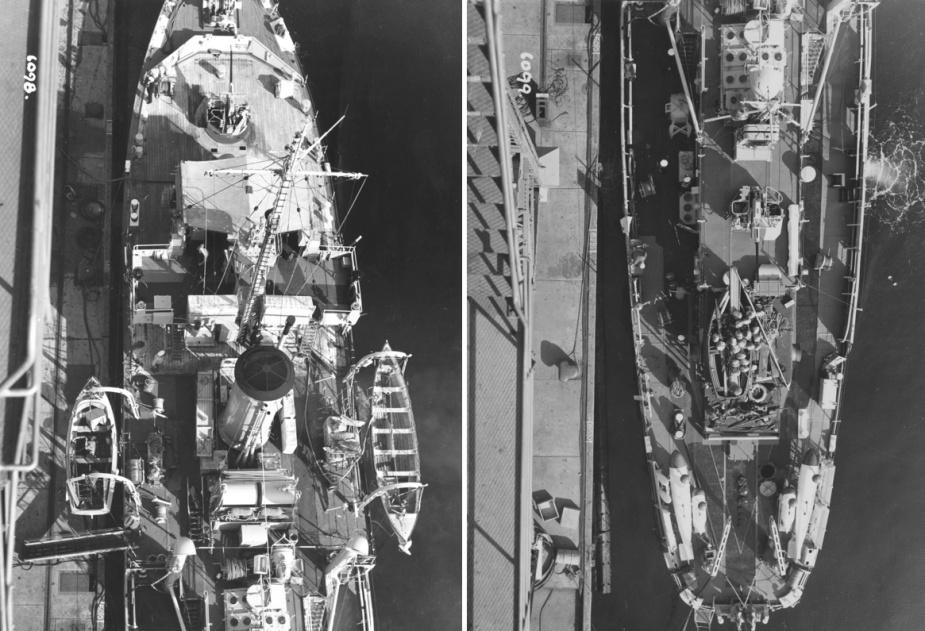 Aerial views of HMAS Cootamundra alongside.