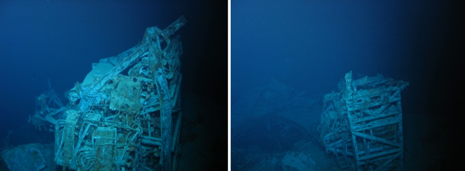 Two views of the main part of the seaplane crane which remains in situ on Sydney's wreck. The jib has detached and now lies on the main deck on the starboard side of the cruiser.