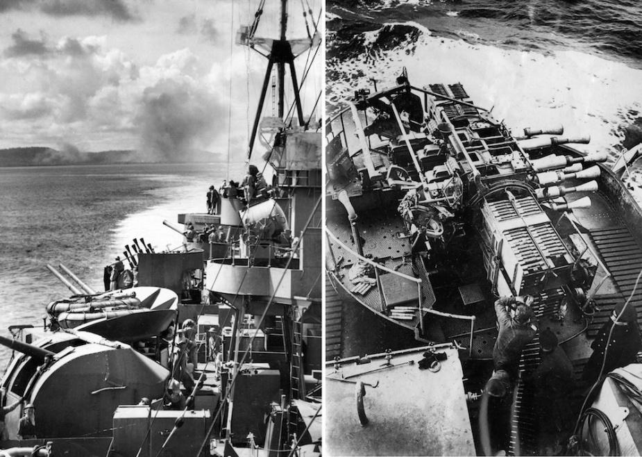 Shropshire bombarding Biak Island, May 1944.