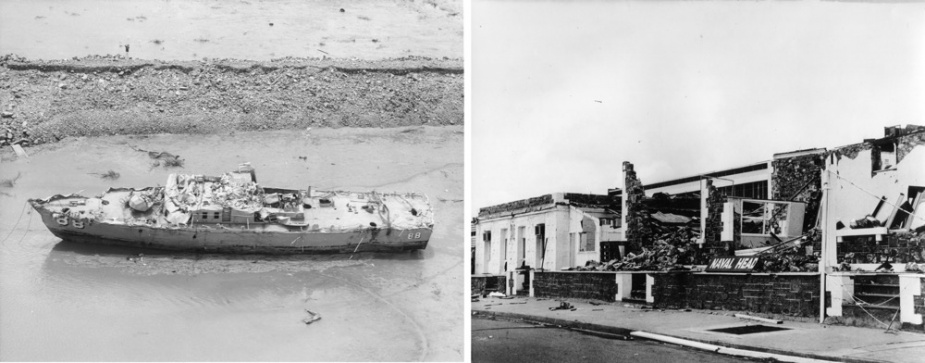 Left: Aerial view of the wrecked HMAS Arrow, after she had been recovered from under Stokes Hill Wharf, Darwin. Right: View of the damaged Darwin Naval Headquarters.