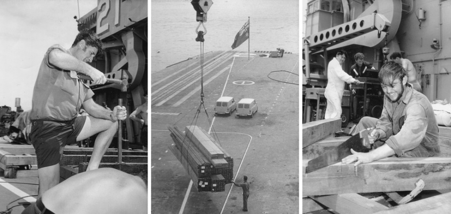 Left: CPOMTH Bob Bowden working on HMAS Melbourne. Middle: Airlifting material off HMAS Melbourne. Right: CPOMTH Tom Davies cutting materials.