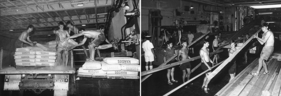 Left: Sailors unloading bags of cement. Right: Slowing timber in hanger aboard HMAS Melbourne.