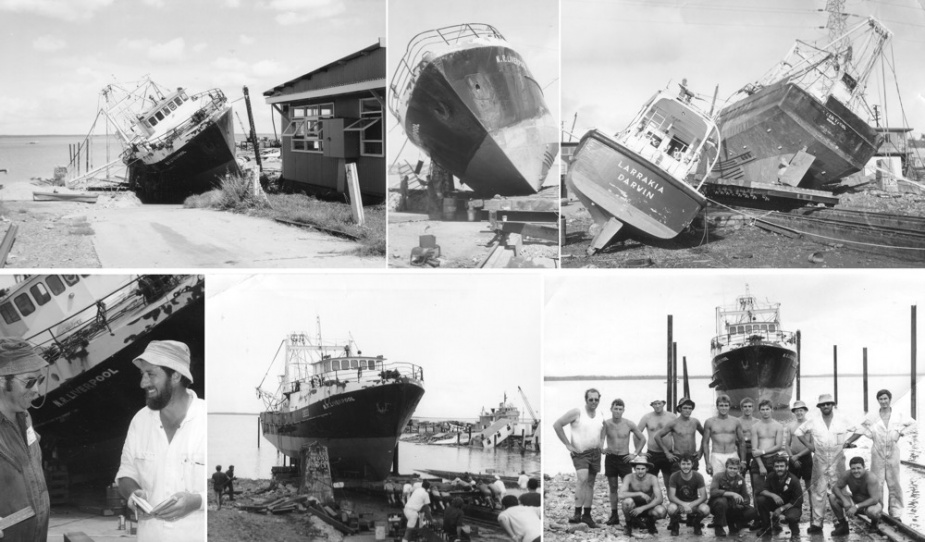 Shipwrights from HMAS Melbourne salvaged NR Liverpool, who was damaged as a result of Cyclone Tracey.