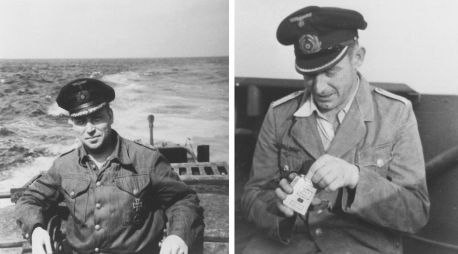 "Two of U-862's officers, left"" Marineoberstabsarzt Jobst Schafer. Right: Oberleutnant zur see Karl Steinhauser"
