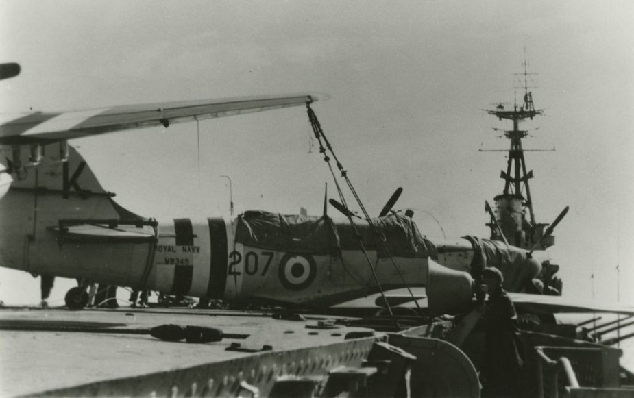 A damaged Firefly in the aftermath of Typhoon Ruth.