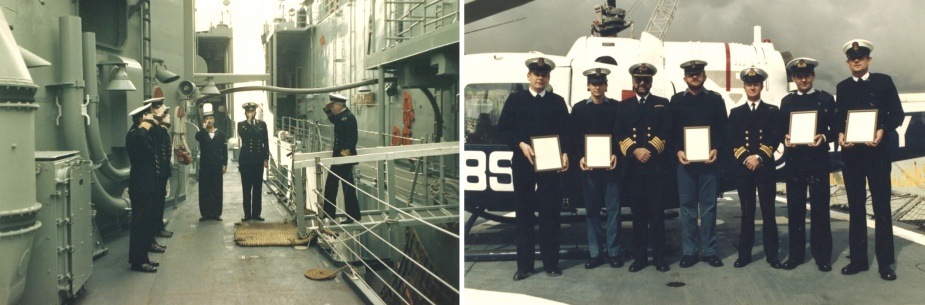 Left: Fleet Commander, Rear Admiral Ian Knox, AO, RAN, being piped on board Darwin, 14 August 1986. Right: Five members of the commissioning crew of Darwin were awarded Flag Officer's Commendations by the Fleet Commander, Rear Admiral Ian Knox, AO, RAN, on 14 August 1986. L-R: Warrant Officer Gunther Suczynski, Chief Petty Officer DA Thiele, Captain Hector Donohue, RAN (Commanding Officer), Petty Officer KG Walters, Lieutenant Commander Lee Cordner, RAN (Executive Officer), Lieutenant Commander Kitson Morg