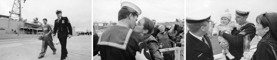 Left: PO James MacKenzie walks with his son past Darwin at a homecoming ceremony for Anzac and Darwin at Victoria Quay, 17 May 2003. (P04192.133) Centre: Able Seaman Marine Technician Shane Rowe from HMAS Darwin kisses his girlfriend Leading Seaman Combat Systems Operator Aeron Cornelius (previously of Darwin but posted off before the deployment) at the homecoming ceremony. (P04192.149) Right: An unidentified Leading Seaman from HMAS Darwin is reunited with relatives at the homecoming ceremony. (P04192.149)
