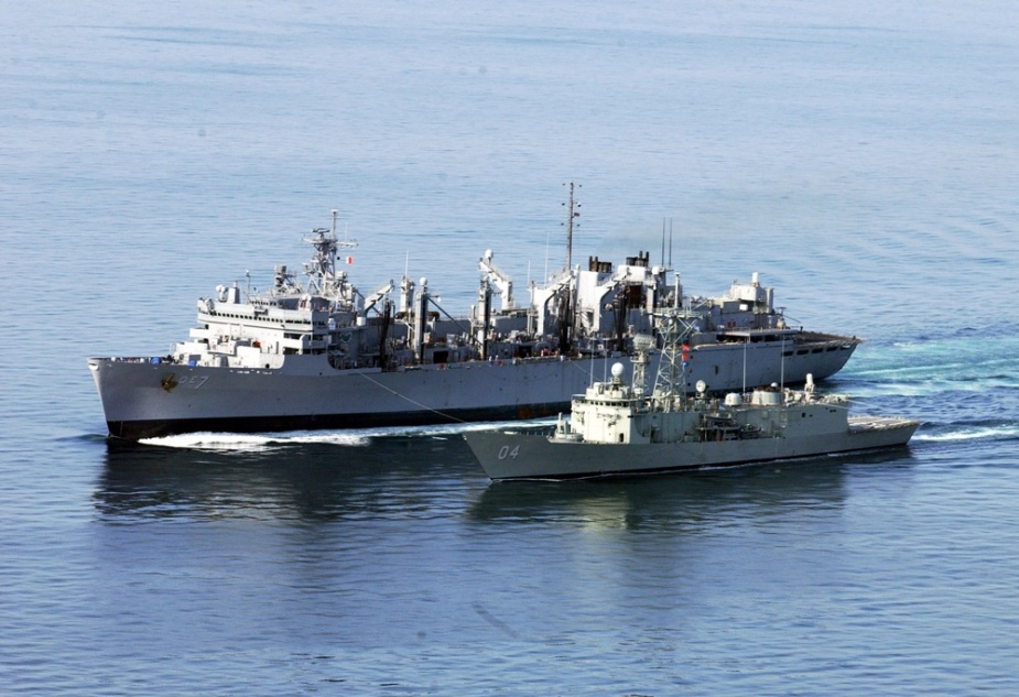 USNS Rainier and HMAS Darwin conducted multiple replenishments during January 2003.