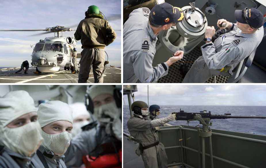 Top left: Tiger 80 lands on HMAS Darwin during Exercise TALISMAN SABRE 09, 6 July 2009. Petty Officer Aviation Technician Avionics David Hazell (right) is Flight Deck Marshaller. Top right: CO HMAS Darwin, CMDR Chris Smith, CSM, RAN and LEUT John Hallam, RAN on the starboard bridge wing. Bottom left: Able Seaman Stores Naval Bob Jope. Bottom right: Able Seaman Boatswains Mate Nathan Coles fires the .50 calibre machine gun from the port waist of HMAS Darwin during a weapons training exercise.