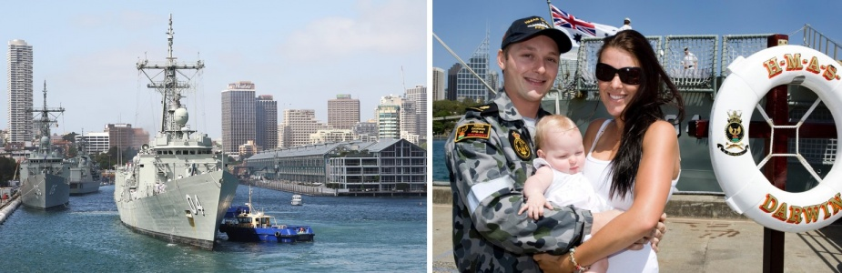 Left: HMAS Darwin returns to Fleet Base East, Garden Island from a four month deployment throughout South East Asia, 4 December 2009. Right: Able Seaman Combat Systems Operator (CSO) Chris King with his wife Seaman CSO Jayde King and their daughter Summer.