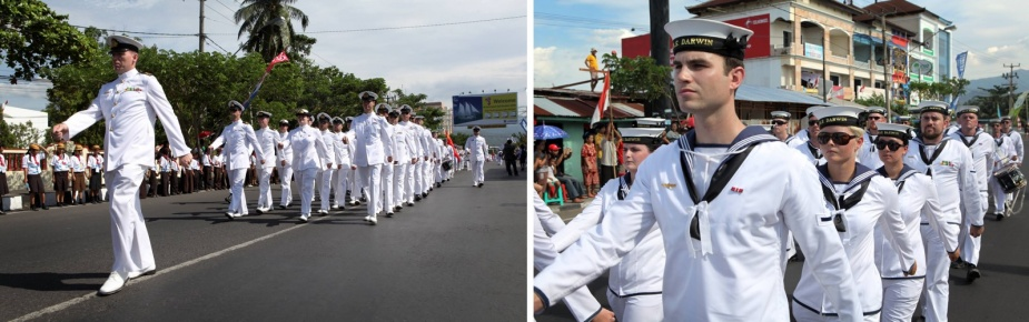 Officers and sailors from HMAS Darwin and HMAS Leeuwin participate in the Indonesian Fleet Review 2009, city parade in Manado, Indonesia during their South East Asian Deployment, 18 August 2009.