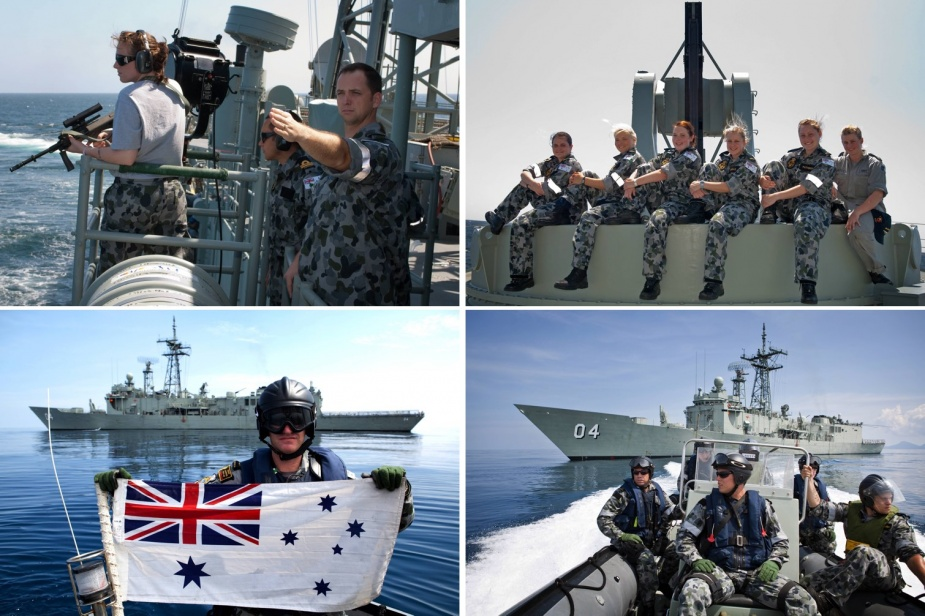 Top left: Darwin conducts Man Overboard Exercise (MOBEX) during her Southeast Asian Deployment 2009. Top right: (L-R) Seaman General Experience Sailors (SMNGX) Kirsty Goldsmith, Danielle Stevens, Jillian Witherow, Kirstie Nicholls, Georgia Patterson and Amanda Archer. Bottom left: Petty Officer Boatswain Antony Kirk. Bottom right: (L-R) Leading Seaman Boatswains Mate Glenn Phillips, Able Seaman Boatswains Mate Jarrdyn Pittman and Seaman Boatswains Mate Taylor Bradshaw.