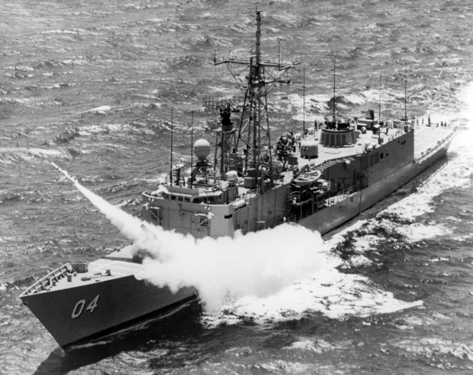 Darwin conducts a missile firing at sea during 1987.