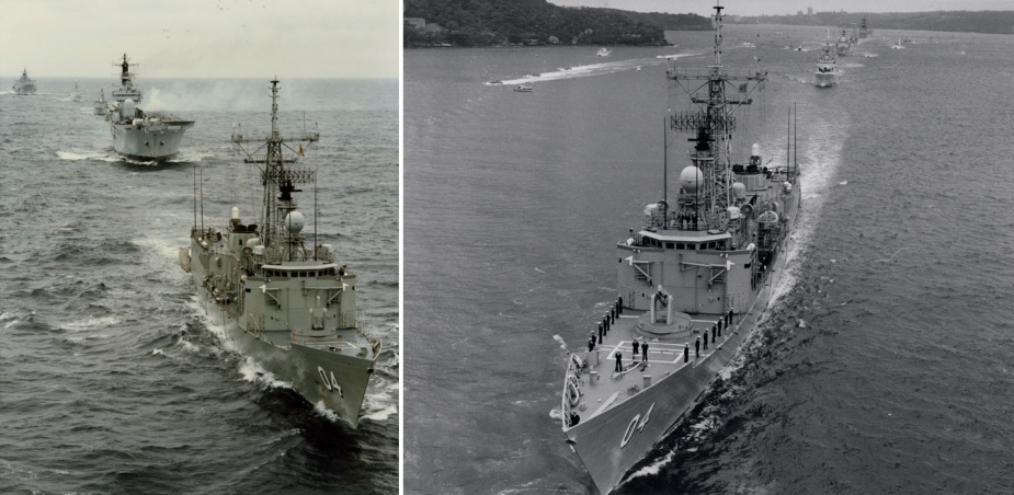 Left: Darwin leads the Royal Navy aircraft carrier HMS Ark Royal during the International Fleet Review in October 1988. Right: Darwin enters Sydney Harbour during the International Fleet Review 1988.