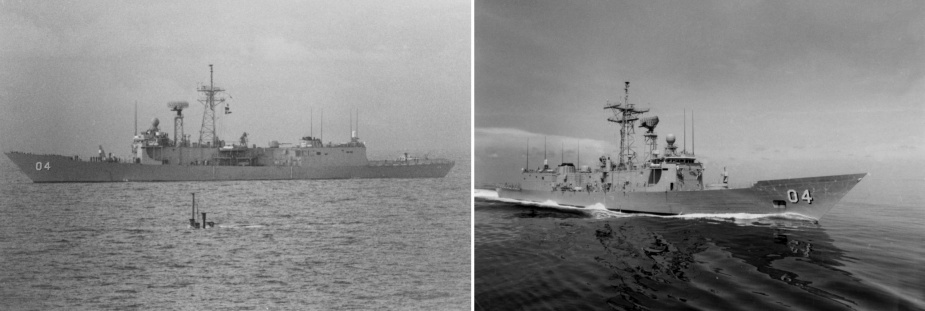 Left: HMAS Darwin shadowing a USN submarine, circa 1989. Right: HMAS Darwin, circa 1989.