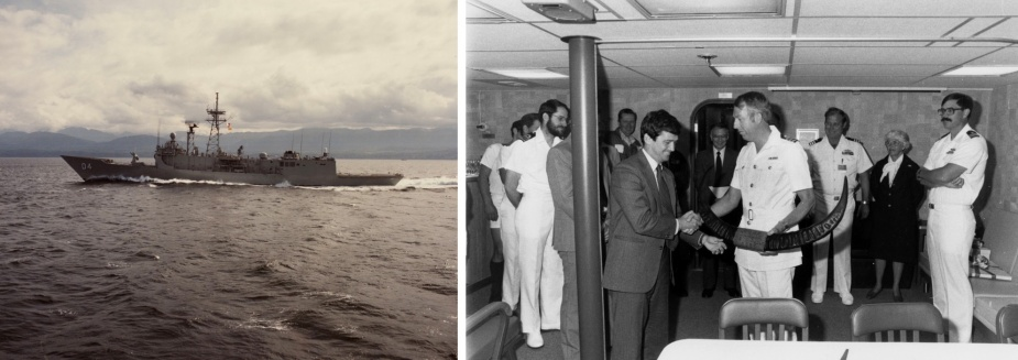 Left: Darwin at sea during acceptance trials on 23 May 1984. Right: CMDR Rick Bayley, RAN, CO of HMAS Darwin, presents Mr John T Gilbride, Jr, General Manager of Todd Pacific Shipyard, Seattle Division, with a set of buffalo horns to mark the delivery of Darwin to the RAN on 12 July 1984.