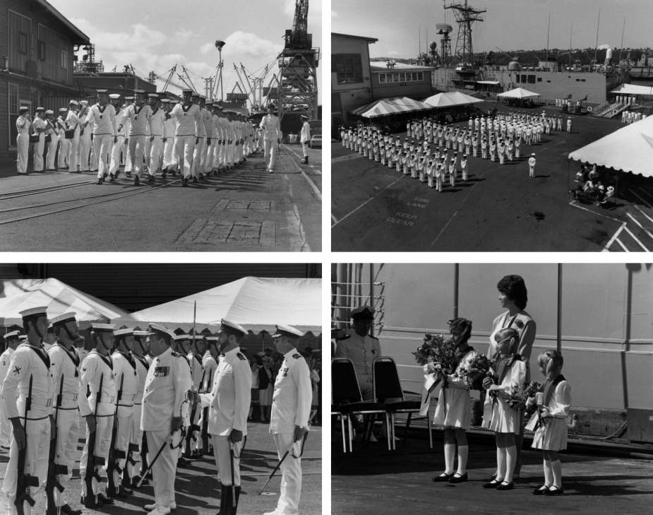 Top left: Darwin's ship's company marches on to the wharf prior to the official commissioning ceremony. Top right: Darwin's commissioning ceremony was held on 21 July 1984 at Todd Pacific Shipyards Corporation, Seattle, Washington, USA. Bottom left: CDRE Eric Johnston, RANR (Administrator of the Northern Territory), inspecting the guard with LEUT Steven Hamilton, RAN (Direction Officer), CMDR Rick Bayley, RAN (CO). Top right: Flower Girls, Amanda, Michelle and Melonie.