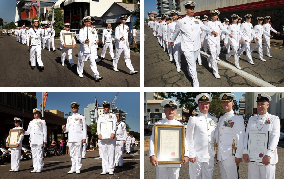 HMAS Coonawarra and HMAS Darwin exercised their right to a Freedom of Entry to the city of Darwin with a spectacular march through the city for Navy Week 2011.