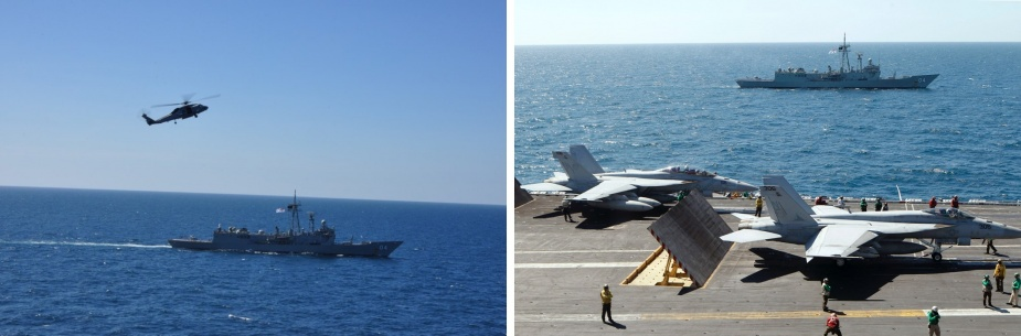HMAS Darwin supports USS George Washington as part of Exercise TALISMAN SABRE 2011.